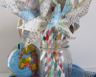 Map Pinwheels, Baby Shower Decor, Party Decor, Nursery Decor, Travel Decor