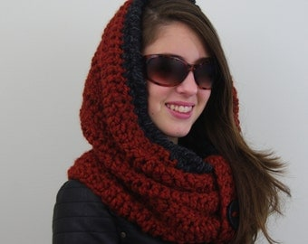 Crochet Chunky Infinity Hooded Cowl, Hoodie in Burnt Orange