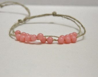 Adjustable Pink Bead Hemp Bracelet