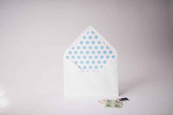 big polka dots lined envelopes (25 color options) - sets of 10