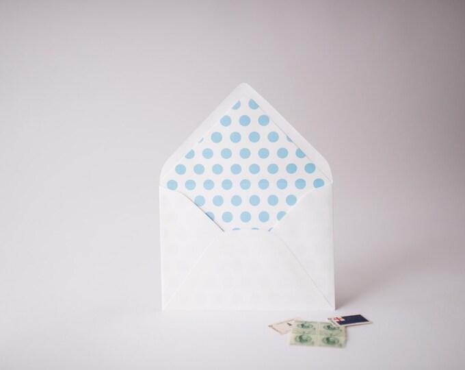 big polka dots lined envelopes (25 color options) - sets of 10