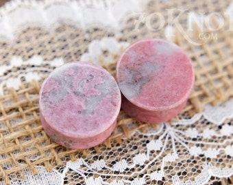 30% OFF SALE Rhodonite Stone Plugs - Double Flared - 1 Pair - 6mm - 8mm - 10mm - 11mm - 12.7mm - 14mm - 16mm - 19mm - 22mm - 25mm - Organic