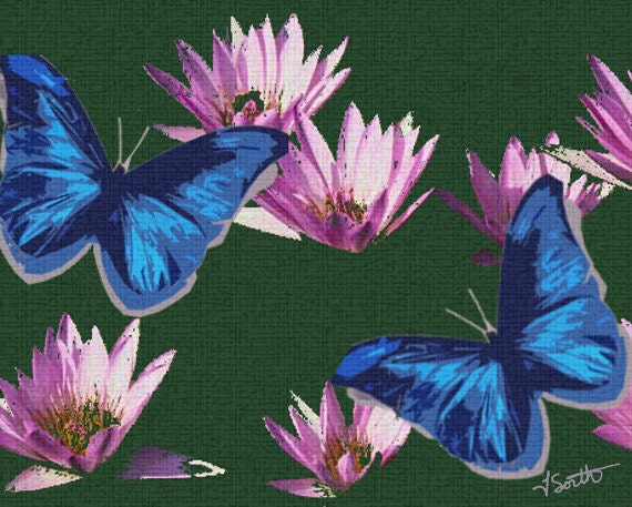 blue butterflies liliesjpg - photo #13