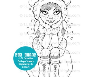 Winter girl digistamp, digital stamp hipster girl in snow, snow stamp coloring page by SLS Lines