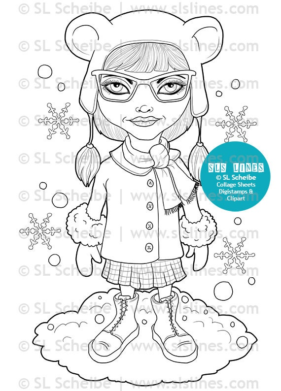 Hipster Girl Digital Stamp Winter Theme Digistamp Snowy Coloring Page By SLS Lines
