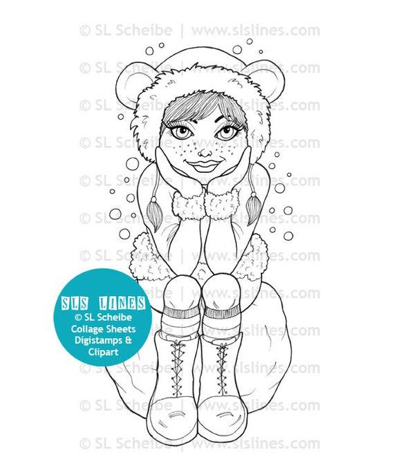 Winter Girl Digistamp Digital Stamp Hipster Girl In Snow