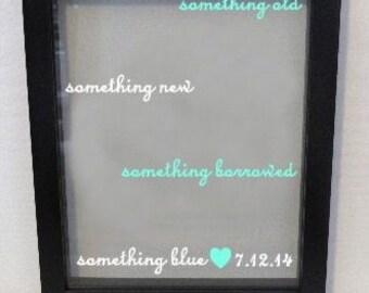 Personalized Wedding Shadow Box, Something Old, New, Borrowed, Blue, Custom Wedding Gift, Memory Keeper, Husband, Wife, Shower Gift, Bride