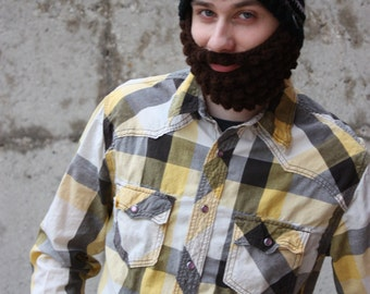 Beard hat with stripes - Men's hat - Crochet