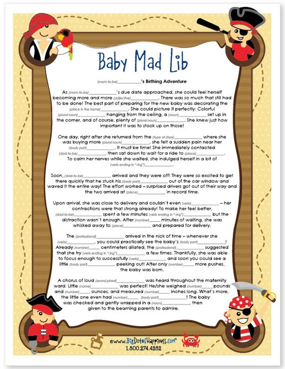 ahoy mates pirate baby shower mad lib game instant download