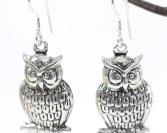 Sterling Silver Owl Earrings, Dangles, Drops, Nature, Woodland Jewelry