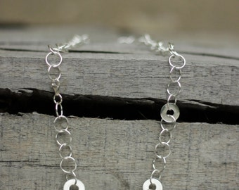 Silver Rings Necklace-Handmade Silver Rings Necklace-Silver Hoop Necklace-Sterling Rings Necklace