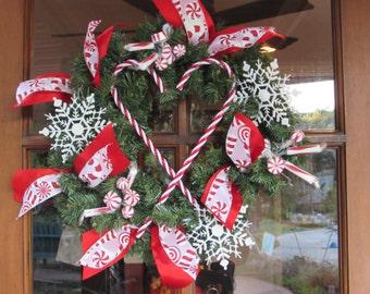 "16"" Christmas Wreath- Candy Cane Wreath- Mint Candy Wreath- Red/White Wreath- Greenery Wreath- Snowflake Wreath- Christmas- Winter Wreath"