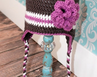Gray, White and Purple Stripe Earflap Hat with Purple Flower