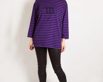 MARIMEKKO Vintage 90's Purple Striped Sailor Top Long Sleeves Baggy S-M