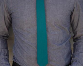 Deep turquoise linen skinny tie