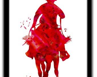 Cowboy print, cowboy art, western art print, red cowboy art print, red cowboy watercolor print, cowboy sillhouette print, cowboy painting