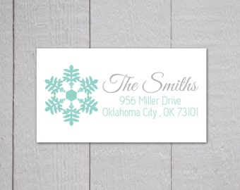 Snowflake Return Address Stickers, Christmas Return Address Labels, Return Address Stickers (#326)