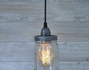 Mason Jar Plug In Pendant Light Antique Pewter