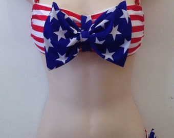 Patriotic Star with Red Bow Bandeau Scrunch Bottom Bikini