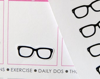 44 Glasses/Reading Stickers for Erin Condren Planner, Filofax, Plum Paper
