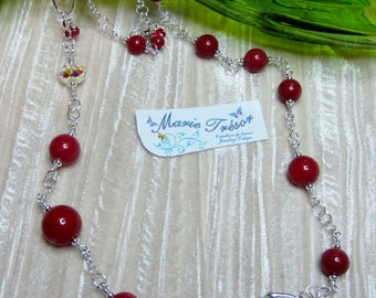 Dyed red Mountain Jade necklace