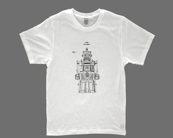 men's patent drawing t-shirt, screen printed t-shirt, alternative apparel t-shirt, ROBOT  t-shirt, patent drawing