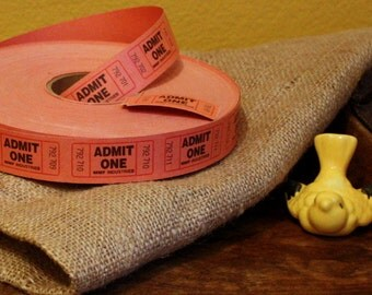 Roll of Admit One Tickets, MMF Industries Orange Admit One Tickets, Orange Admit One tickets