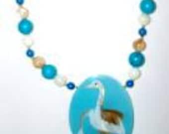 Vintage  Lee Sands Gemstone Crane Inlay Pendant Necklace with Gemstone Beads