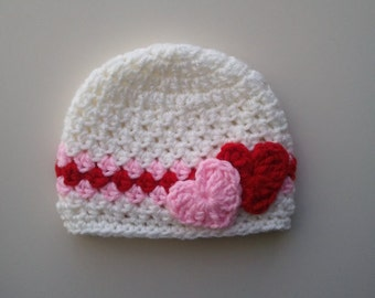 Crochet Valentine Hat : Day Crochet Hat, Baby Valentines Day Hat, Newborn Valentines Day Ha...