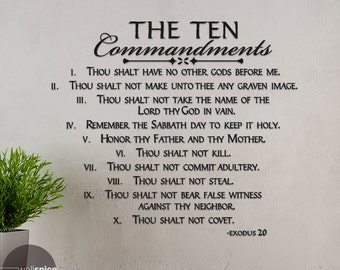 The Ten Commandments Exodus 20 Vinyl Wall Decal Sticker Art Home Decor Religion Bible