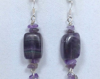 Purple Amethyst Gemstone Earrings