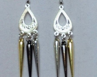 Gold Silver Gunmetal Spike Earrings