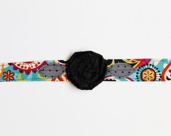 Christmas gift for girls; Paisley Pop - Fabric Flower Headband, fabric headwrap, comfortable headband, adult headband, rosette adult headban