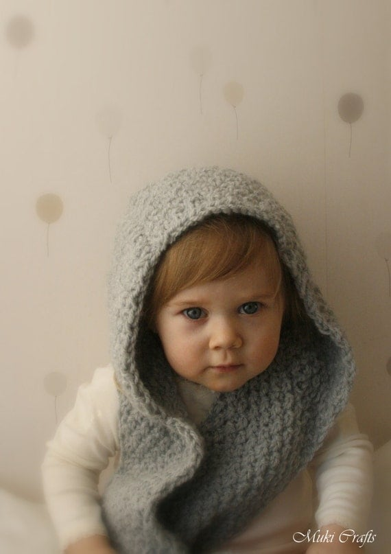 Hooded Infinity Scarf Knitting Pattern : KNITTING PATTERN hooded infinity scarf Willow (child and adult sizes) from Mu...