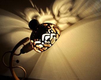 LUMINUS - Special Wooden Lamp, Elegant Shape, Woody lighting, Table Lamp, Desk Lamp, Cosy Houseware, Craft Plastic Lamp, Shadows Play
