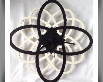 Abstract Black & White, Hand painted wall clock, Spiro clock,