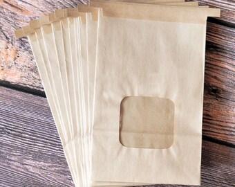 10-pack Large Brown Kraft Bakery Bags with Window
