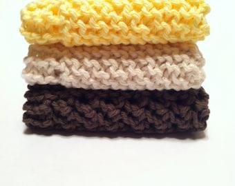 Dish Cloth Trio - Cream, Mocha, and Yellow