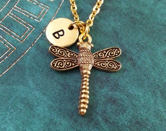 Gold Dragonfly Necklace, Dragonfly Charm, Hand Stamped Necklace, Monogram Necklace, Dragonfly Pendant, Gold Insect Jewelry, Dragonfly Gift