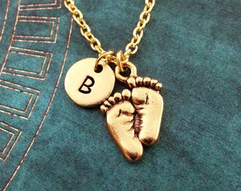 Baby Feet Necklace, SMALL Personalized Necklace, Footprints Pendant, Baby Necklace, Gold Baby Feet Charm, Baby Shower Gift, New Mom Gift