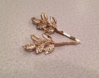 Gold Leaf Bobby Pins