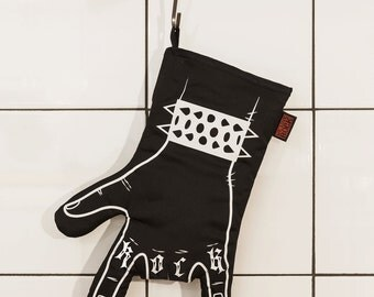 Rock'n'roll oven mitt BLACK BBQ  printed by hand - oven mitt - horns hand - left handed
