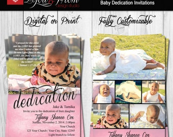 Baby Dedication Invitation - Baptism Invitation - Christening Invitation - Digital or Print - Fully Customizable