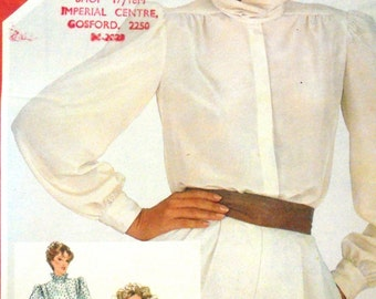 1980s Blouse Pattern with Petal Collar Simplicity 5534 Size 12 Bust 34 Misses' Vintage Sewing Pattern Button Down Ruffle Collar UNCUT