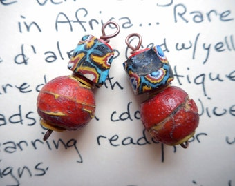 Matched pair antique Cornaline D'Aleppo and Millifiore bead dangles Venetian african trade Hudson Bay beads