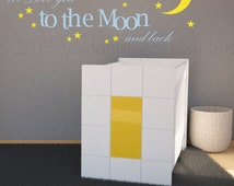 We love you to the moon and back wall decal, nursery wall decal, kids room wall decal, moon and stars, babies room decal, moon wall art