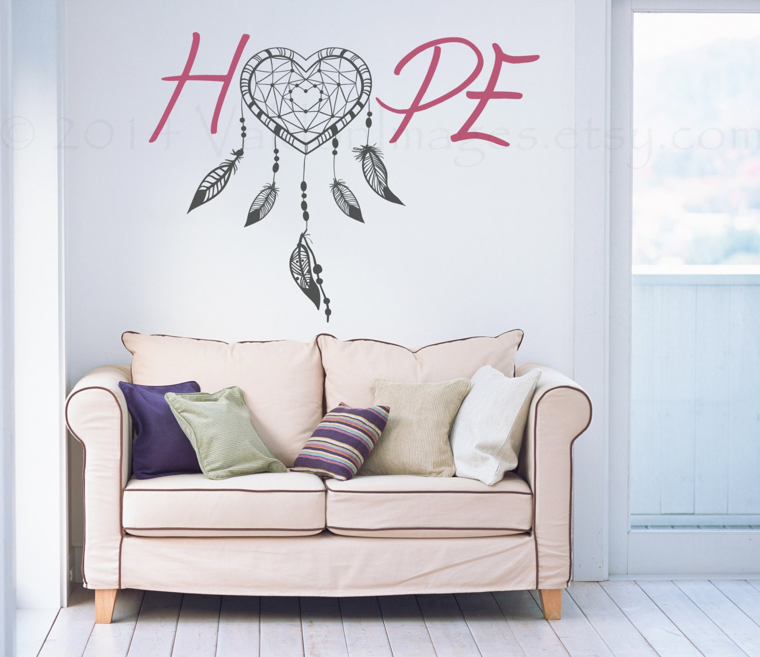 Hope dream catcher wall decal feather wall art boho wall zoom amipublicfo Image collections