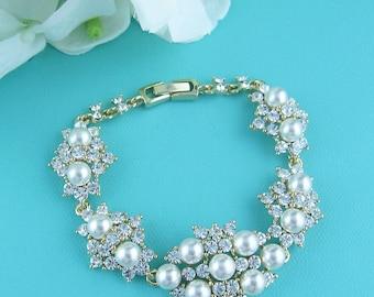 Gold Bridal bracelet, ivory wedding bracelet, rhinestone pearl bracelet, crystal ivory white pearl bracelet, gold bridal jewelry 223952535