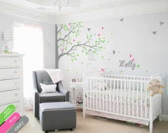 Wall decal Corner Tree Wall Decal with Butterflies Birds Birdcage and Personalized Name Beautiful Nursery Wall Art Mural Sticker - 076