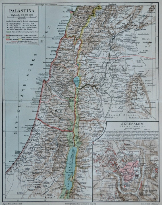 Palestine map at the end of 19th century. Old book plate, 1904. Antique  illustration. 111 years lithograph. 9'6 x  11'9 inches.